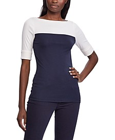 Petite Coloblocked Boatneck Top