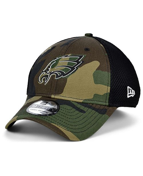 New Era Philadelphia Eagles Black White Camo Mold Neo 39THIRTY Stretch Fitted Cap