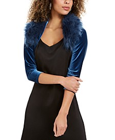 Velvet Faux-Fur-Collar Shrug Jacket, Created for Macy's