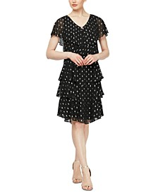Polka-Dot Tiered Shift Dress