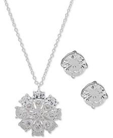 "Silver-Tone Crystal Flower Pendant Necklace & Stud Earrings Set, 16"" + 3"" extender"