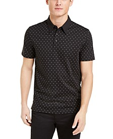 Men's Regular-Fit Diamond-Print Polo Shirt