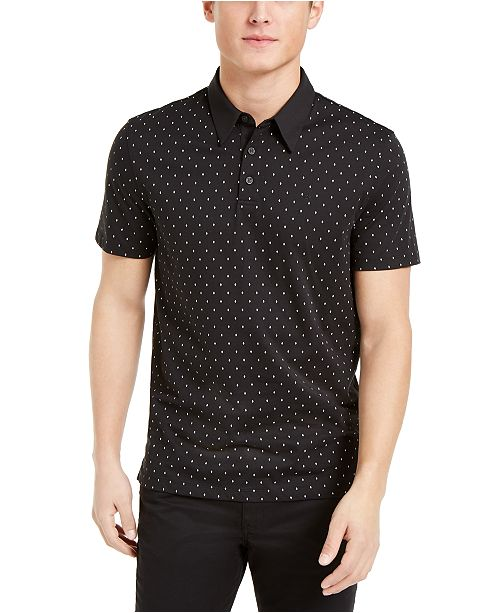 Calvin Klein Men's Regular-Fit Diamond-Print Polo Shirt