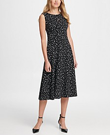 Dot Print Pleated Empire Waist Midi Fit & Flare Dress