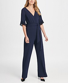 Chiffon Pleat Detail Sleeve V-Neck Jumpsuit