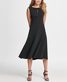 Pleated Empire Waist Midi Fit & Flare Dress
