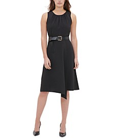 Belted Asymmetrical-Hem Dress