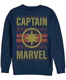 Men's Captain Marvel Chest Logo Ugly Sweater, Crewneck Fleece