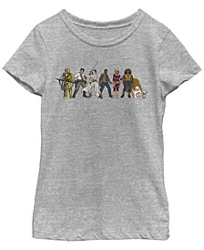 Big Girls Resistance Cartoon Lineup Short Sleeve T-Shirt