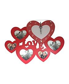 Heart Love Clock with 5 Heart Photo Frames