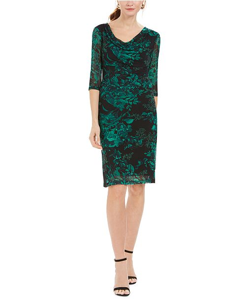 Connected Petite Printed Cowl-Neck Dress