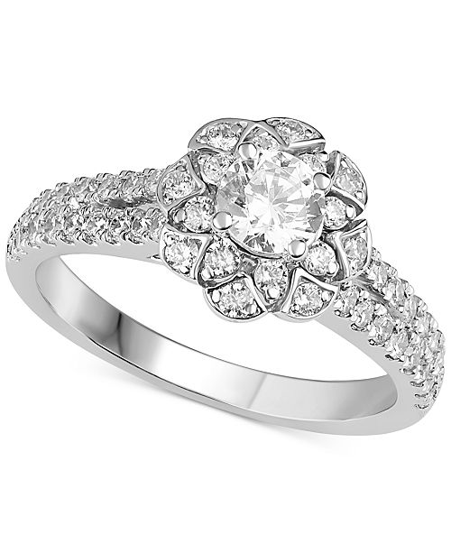 Macy's Diamond Floral Design Engagement Ring (1 ct. t.w.) in 14k White Gold