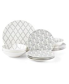 Textured Neutrals  Lattice/Leaf 12-PC Dinnerware Set, Service for 4