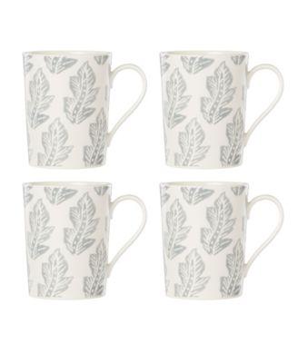 Textured Neutrals Leaf Mugs/4