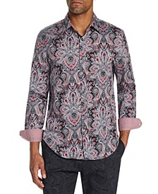 Men's Slim-Fit Stretch Elaborate Paisley Long Sleeve Shirt