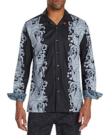 Men's Slim-Fit Performance Stretch Ornate Paisley Camp Shirt
