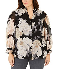 Plus Size Ruffle-Trim Blouse