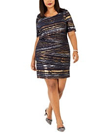 Plus Size Tiered Metallic Sheath Dress