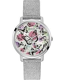 Women's Silver-Tone Glitter Leather Strap Watch 40mm