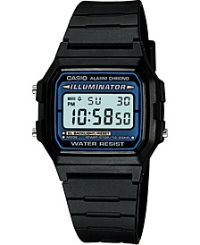 Unisex Digital Black Resin Strap Watch 35mm