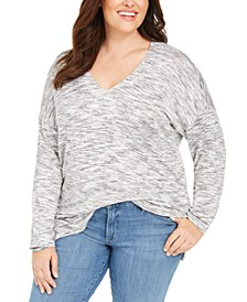 Plus Size Space-Dye Sweater-Knit Tunic, Created for Macy's