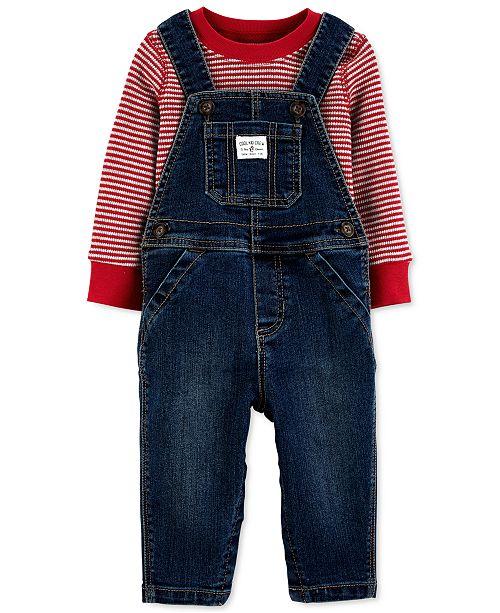 Carter's Baby Boys 2-Pc. Striped T-Shirt & Denim Overalls Set