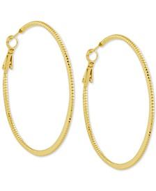 """Twisted Look Medium Hoop Fine Silver Plate Earrings, 2"""""""