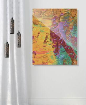 "Sunset Beach Tanning on Yellow Abstract 16"" x 20"" Acrylic Wall Art Print"