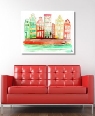 """Gracht In Amsterdam in Orange Abstract 16"""" x 20"""" Acrylic Wall Art Print"""