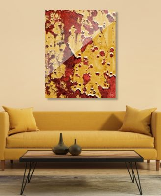 """Flaking Wall Caution in Yellow Red Abstract 20"""" x 24"""" Acrylic Wall Art Print"""