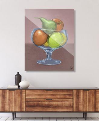 "Fruit Still Life on Brown Illustration 16"" x 20"" Acrylic Wall Art Print"