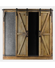 American Art Decor Sliding Barn Doors Chalkboard Message Board Organizer