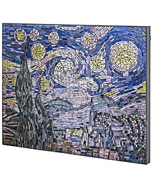 American Art Decor Vincent Van Gogh Starry Night Crushed Glass Mosaic Wall Art Decor