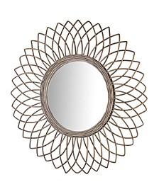 American Art Decor Woven Rattan Sunburst Accent Wall Mirror