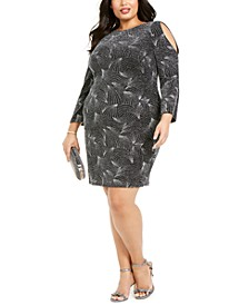 Plus Size Cold-Shoulder Beaded Dress