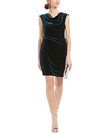Petite Velvet Cowlneck Sheath Dress