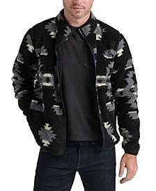 Men's Printed Fleece Mock-Neck Sweater