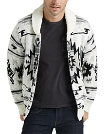 Men's Printed Shawl-Collar Sweater