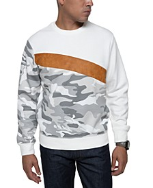 Men's Camo Sweatshirt With Faux Suede Stripe