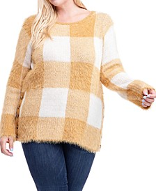 Plus Size Plaid Button-Side Sweater