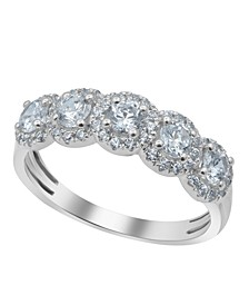 Graduating Half Eternity Semi Halo Diamond (1 ct. t.w.) Ring in 14K White Gold