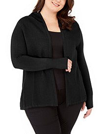 Plus Size Open-Front Hooded Cardigan