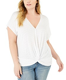 INC Plus Size Eyelet Twist-Front Top, Created For Macy's