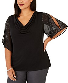 Plus Size Embellished Split-Sleeve Top