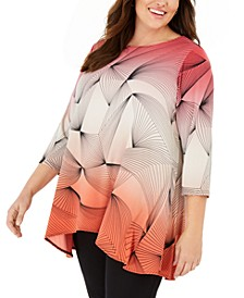 Plus Printed High-Low Tunic, Created for Macy's