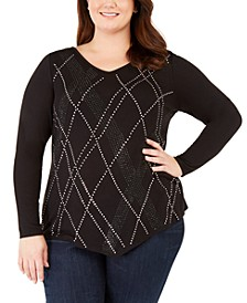 Plus Size Rhinestone-Embellished Pointed-Hem Top
