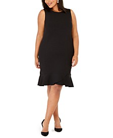 Plus Size Scalloped-Flounce Sheath Dress