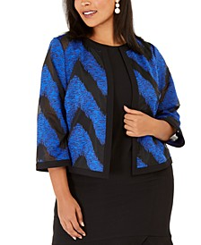 Plus Size Organza Mixed-Texture Flyaway Jacket