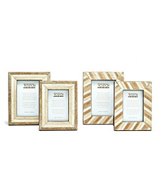Shades of Brown Natural Cowhide Hand-Stitched Photo Frames - Set of 4