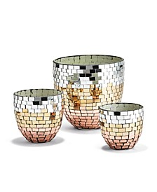 Tri-Colored Mosaic Conical Candleholders - Set of 3